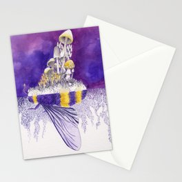 Ultraviolet Bumblebee / Mushroom Watercolor Painting Stationery Cards