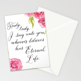"""""""Truly, truly"""" watercolor Bible verse Stationery Cards"""