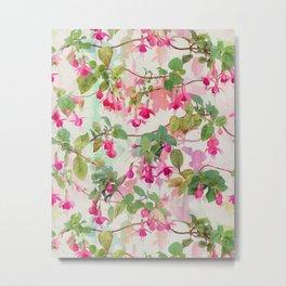 Rainbow Fuchsia Floral Pattern Metal Print