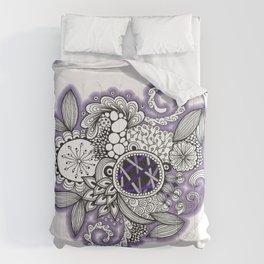 Pretty in Purple Zentangle Design Illustration Comforters
