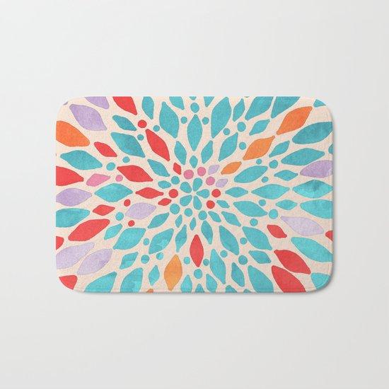 Radiant Dahlia - teal, orange, coral, pink watercolor pattern Bath Mat
