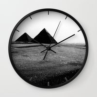 egypt Wall Clocks featuring Egypt, Pyramids by DLS Design