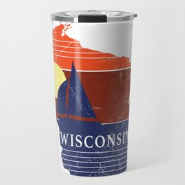 Wisconsin State WI Sailboat Sunset Print Travel Mug