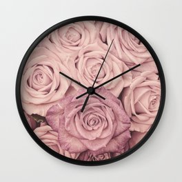 Some People Grumble - Pink Rose Pattern - Roses Wall Clock