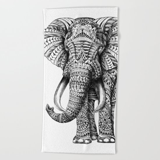 Ornate Elephant Beach Towel
