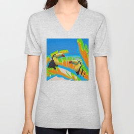 Colorful Toucans Tropical Banana Leaves Pattern Unisex V-Neck