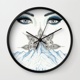 Winter Eyes Mountain Range Mandala Wall Clock