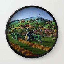 Farmer On Old John Deere Baling Hay Field Country Farm Life Landscape Wall Clock