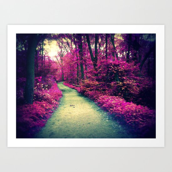 Mystical Path in Forest Park, Forest, Woodlands Art Print