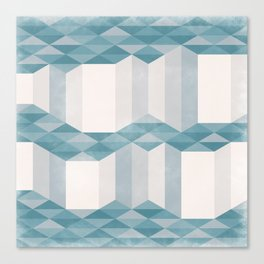 Dusty Triangle columns - blue & pink - two levels Canvas Print