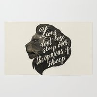 sansa stark Area & Throw Rugs featuring Lions don't lose sleep over the opinions of sheep by Laura Graves