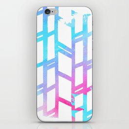 Geometric pink teal watercolor abstract gradient pattern iPhone Skin