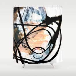 It comes and goes - a black and white abstract mixed media piece with pink details Shower Curtain