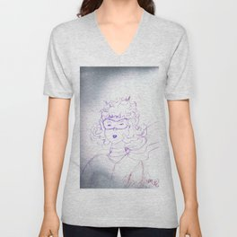 Determination of a young Amelia Earhart,colored pencil sketch Unisex V-Neck