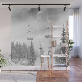 Ski Lift Moon Break // Riding the Mountain at Copper Colorado Luna Sky Peeking Foggy Clouds Wall Mural