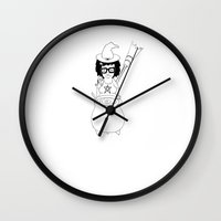 tina crespo Wall Clocks featuring Witchy Tina by tonelokeart