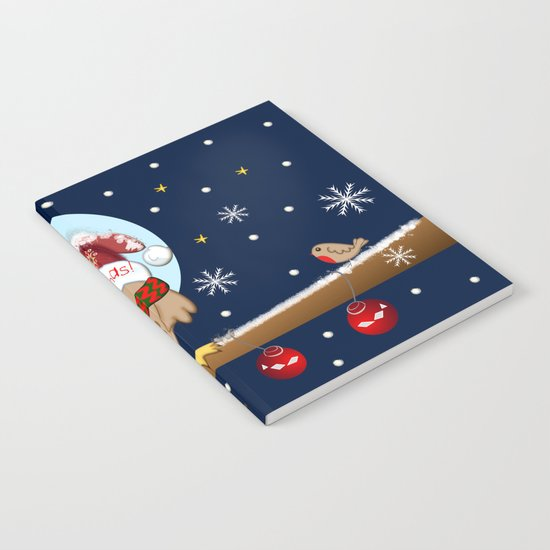 Owl's Christmas in a snowy world Notebook