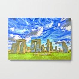 Stonehenge Pop Art Style Metal Print