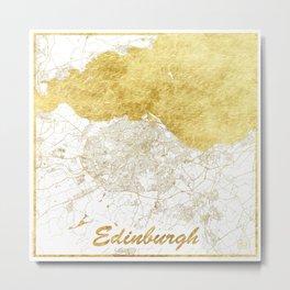 Edinburgh Map Gold Metal Print