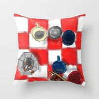 cigarettes Throw Pillows featuring Coffee and Cigarettes by The Strawbridge Collective