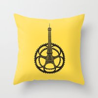 tour de france Throw Pillows featuring Le Tour de France by Foster Type