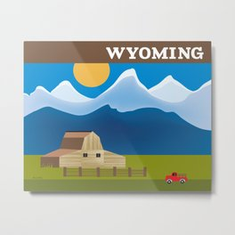 Wyoming - Skyline Illustration by Loose Petals Metal Print
