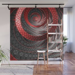 Beautiful Silver and Red Fractal Vampire Scales Wall Mural