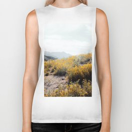 vintage style yellow poppy flower field with summer sunlight Biker Tank