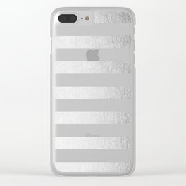 Simply Striped Moonlight Silver Clear iPhone Case