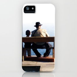 Grandson and Grandfather fishing on the end of a Boat iPhone Case