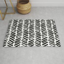 Simple black and white handrawn chevron - horizontal Rug