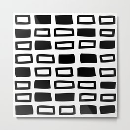 Mid Century Modern Abstract Squares Pattern 442 Black and White Metal Print