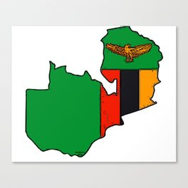Zambia Map with Zambian Flag Canvas Print