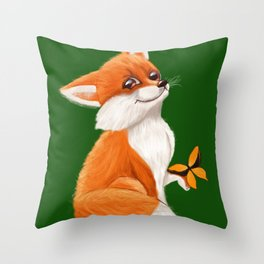 Cute fox playing with a butterfly Throw Pillow