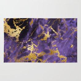 Ultra Violet Gold Marble Metallic Foil Rug