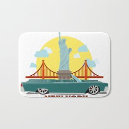 Cabriolet car on the background of the Statue of Liberty and Golden Gate Bridge Bath Mat