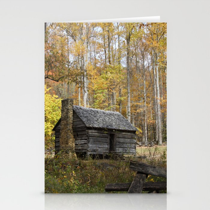 Smoky Mountain Rural Rustic Cabin Autumn View Stationery Cards