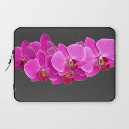 CHARCOAL GREY PURPLE PINK ORCHIDS Laptop Sleeve