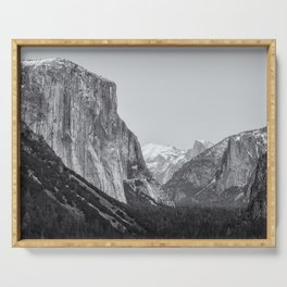 El Capitan, Half Dome and Sentinel Rock from Tunnel View bw Serving Tray