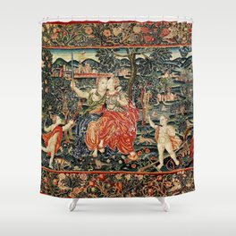 Franco Flemish Allegorical 17th Century Tapestry Print Shower Curtain