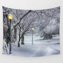Street Lamp in the Snow Wall Tapestry