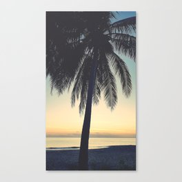 Tropical sunrise with Coconut Palm Tree Canvas Print