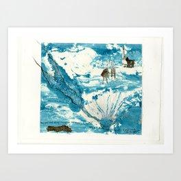 mermaid of Zennor collagraph 1 Art Print