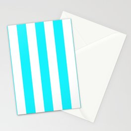 Lotion blue - solid color - white vertical lines pattern Stationery Cards