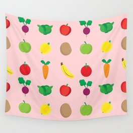 A Cute Concoction of Fruit and Vegetables. Vegan Heaven! Wall Tapestry