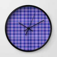 preppy Wall Clocks featuring Purple Plaid Preppy by michaelrosen