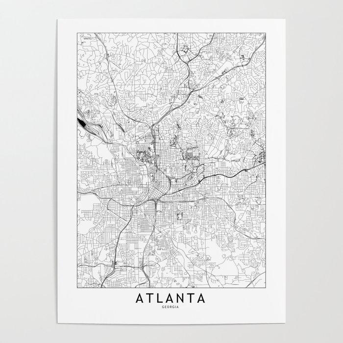 Atlanta White Map Poster