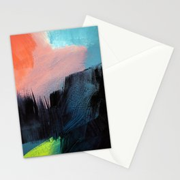 Red sky abstract landscape Stationery Cards
