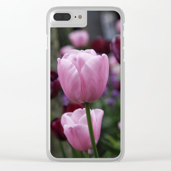 Tulips on Pink Clear iPhone Case