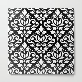Scroll Damask Big Pattern White on Black Metal Print